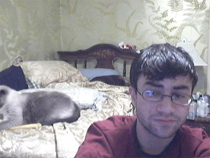 Ross in front of the web cam